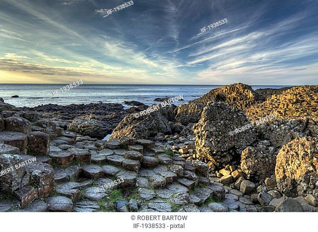basalt columns of the giant's causeway, county antrim northern ireland