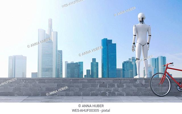 Robot standing on wall looking at skyline