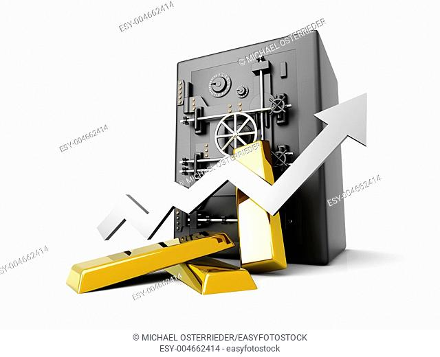 Growing value of the Gold investment  3D rendered Illustration  Isolated on white