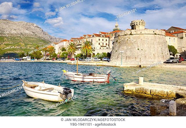 Croatia - Korcula Island, Korcula Old Town harbor, Dalmatia, Croatia