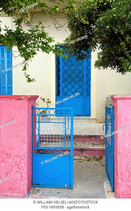 Fiskardo, Kefalonia, Greece: wall, gate, and door of a house