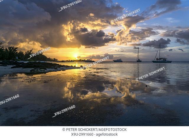 sunset at the coast of Cap Malheureux, Riviere du Rempart, Mauritius, Africa