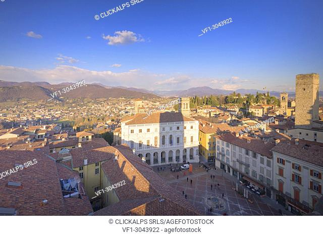 Piazza Vecchia and Palazzo Nuovo (New Palace) from above during sunset. Bergamo, Lombardy, Italy