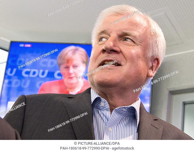 18 June 2018, Munich, Germany: Horst Seehofer, CSU chairman and federal interior minister on his way to a press conference following a meeting of the CSU board