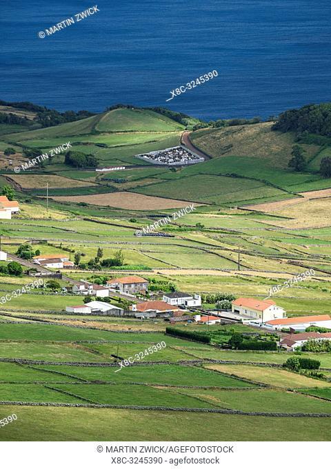 View from Pico da Velha towards east to Velas. Sao Jorge Island, an island in the Azores (Ilhas dos Acores) in the Atlantic ocean