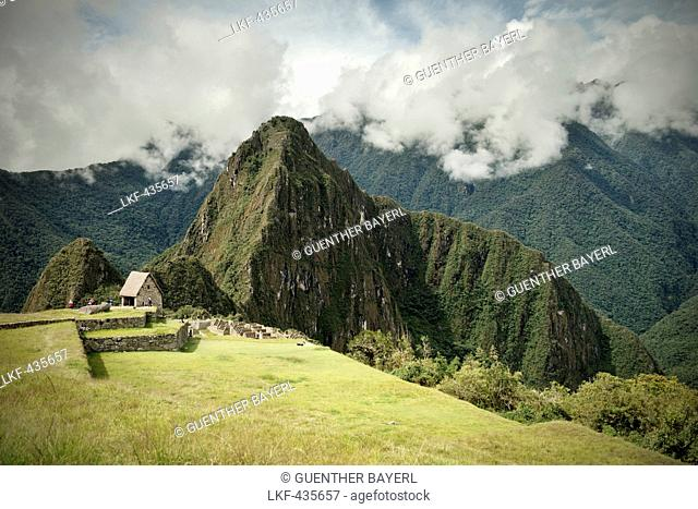 View towards Wayna Picchu, Machu Picchu, Cusco, Cuzco, Peru, Andes, South America