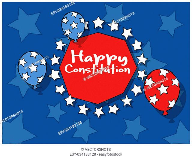 Drawing Art of Background - Constitution Day Vector Illustration