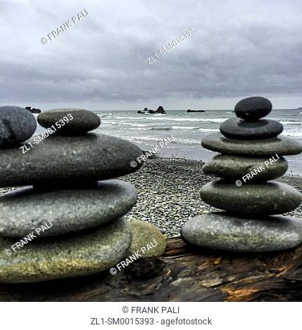 Rock Stacks frame the ocean Ruby Beach, Olympic Peninsula, Washington USA 47°42'40' N 124°24'57' W