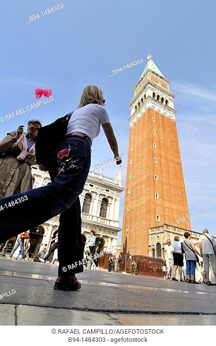 'Campanile' (bell tower) of St Mark's Basilica, St Mark's Square, Venice, Veneto, Italy