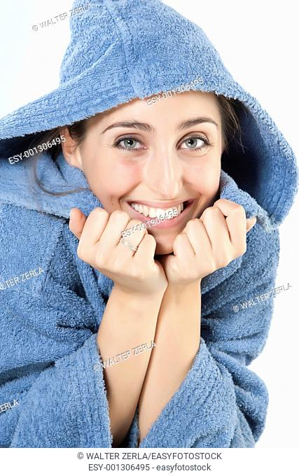 Beautiful young smiling woman in bathrobe  Isolated over white background