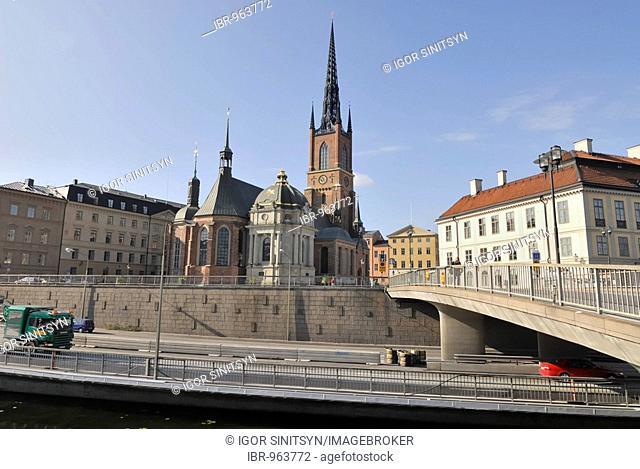 View of Riddarholmskyrkan, Riddarholms church, on Riddarholmen Island, Stockholm, Sweden, Scandinavia, Europe