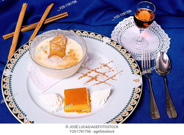 Custard with borrachuelos, Ubeda, Jaen-province, Spain
