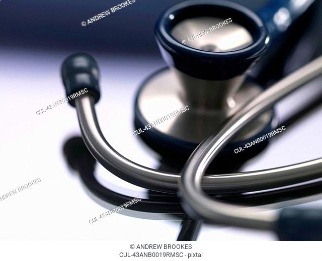 Close up of stethoscope on counter