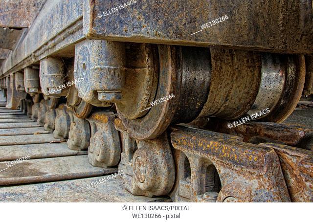 Closeup of continuous track tread on a bulldozer
