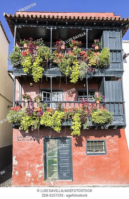 wooden balconies in the seafront avenue. santa cruz de la palma. la palma. canary islands. spain
