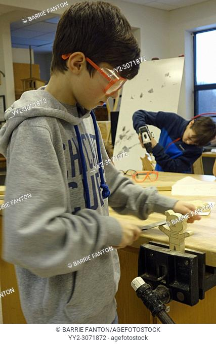 8th Grade Boys Using Tools in Technology Class, Wellsville, New York, USA