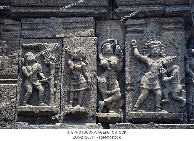 Carved figures, outer wall of temple, Near Palasdeo Temple, Ujani Dam, Maharashtra, India