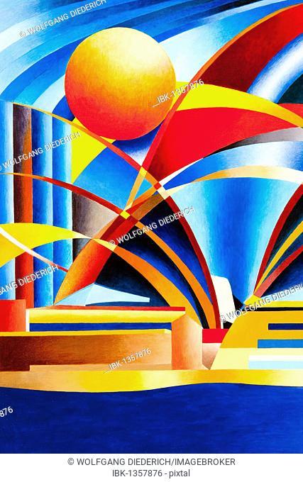 Sydney Opera House, Australia, acrylic painting, artist Gerhard Kraus, Kriftel