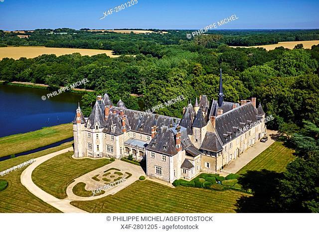 France, Cher (18), Berry, the Jacques Coeur road, chateau de la Verrerie castle, aerial view