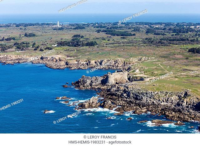 France, Vendee, Yeu island, le Vieux Chateau on the wild coast (aerial view)
