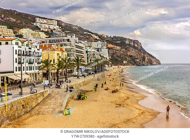Beach of Sesimbra. The town is situated in Portugal