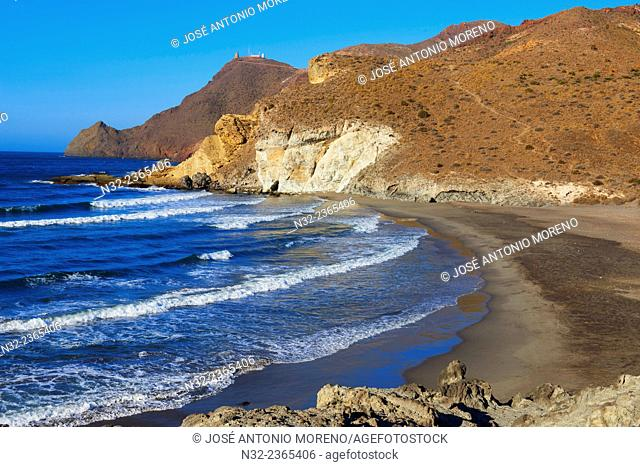Cala de la media Luna, Cabo de Gata, Biosphere Reserve, Ensenada de la media Luna, Cabo de Gata-Nijar Natural Park, Almeria, Spain, Europe