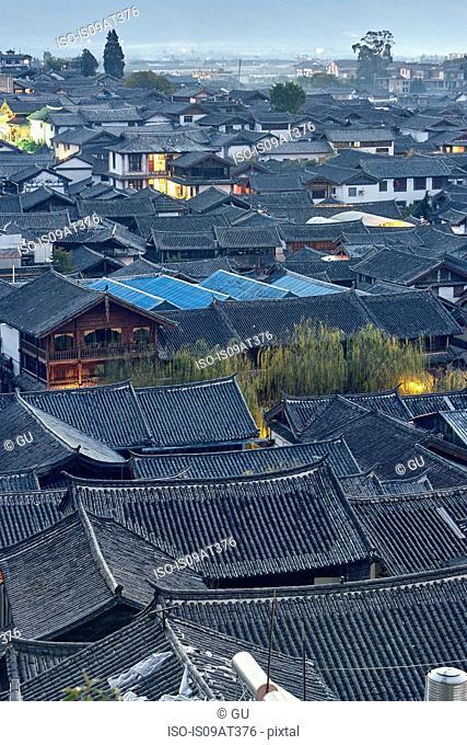High angle view across rooftops, Dali, Yunnan, China