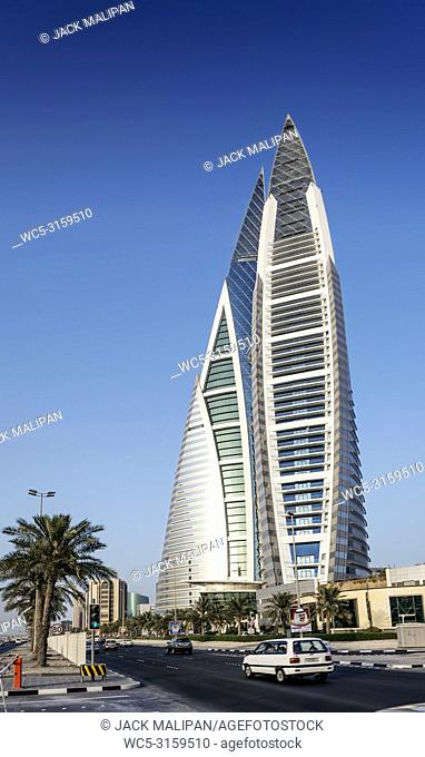 world trade center modern landmark skyscraper in central manama city bahrain