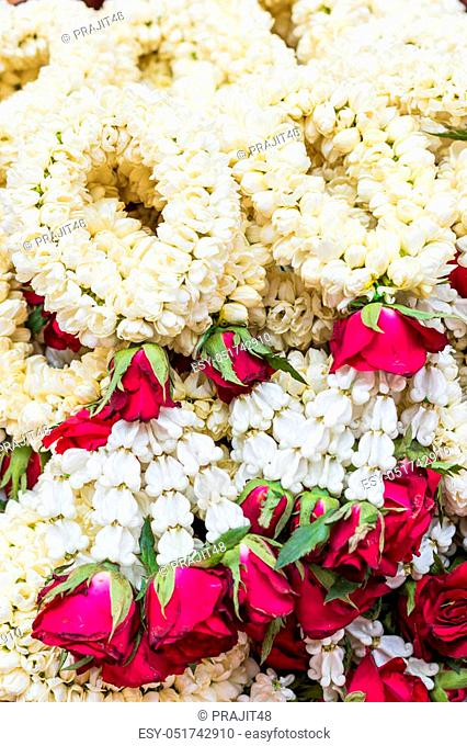 Fresh jasmine flowers garland for religion ceremony background