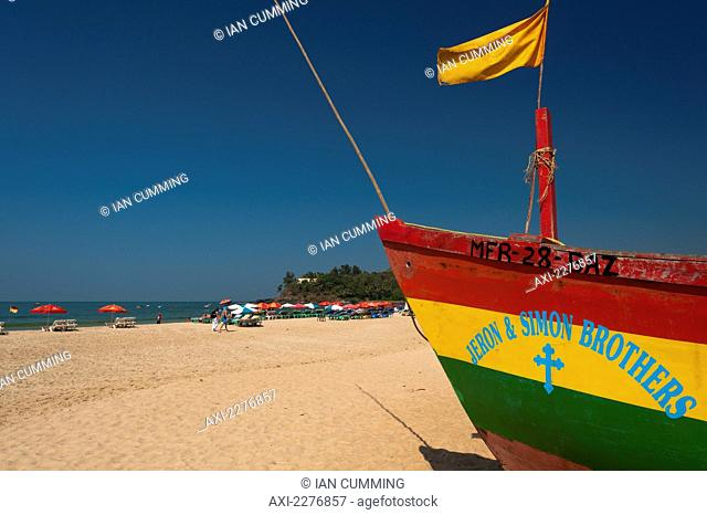 Fishing boat on the beach; Baga, Goa, India