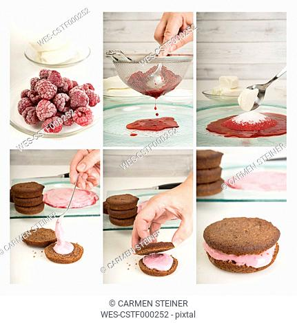 Collage of six photographies of preparing Whoopie pies