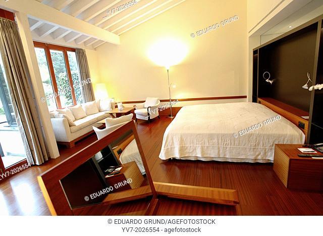 Room of the Hotel Victoria - Jungfrau Grand Hotel & Spa. Interlaken, Canton of Bern, Switzerland, Europe