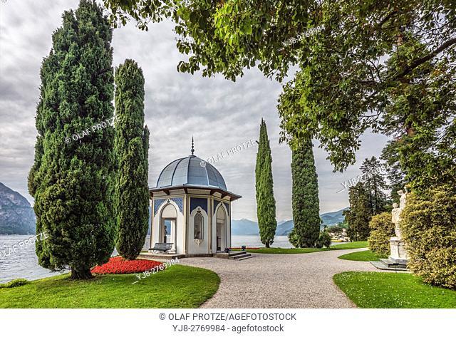 Moorish pavilion at the Garden of Villa Melzi D Eril in Bellagio at Lake Como, Italy