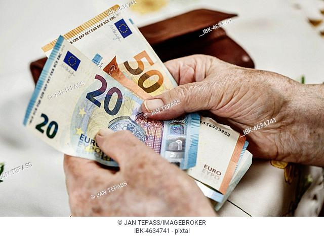 Senior citizen counts banknotes, close-up, Germany