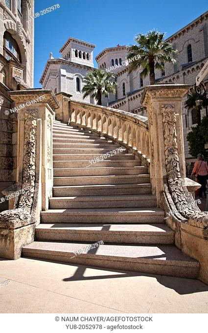 Staircase of the building Monaco Courthouse, sovereign city-state, French Riviera, Western Europe