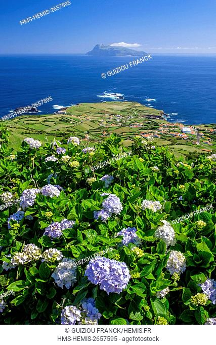 Portugal, Azores archipelago, Flores island, Ponta Delgada at the north end of the island, Corvo island in the background
