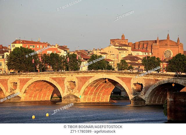 France, Midi-Pyrénées, Toulouse, Pont Neuf, bridge, Garonne River, skyline