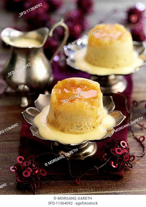 Steamed ginger pudding with vanilla sauce