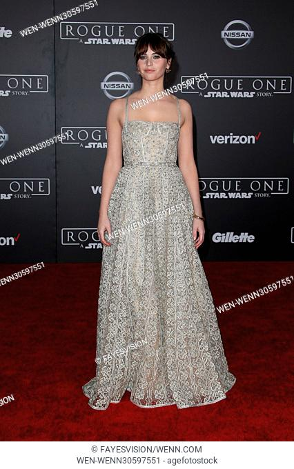 """Premiere Of Walt Disney Pictures And Lucasfilm's """"""""Rogue One: A Star Wars Story"""""""" Featuring: Felicity Jones Where: Hollywood, California"""
