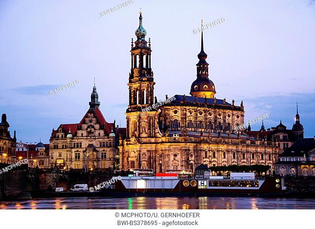 Dresden Cathedral, Dresden Castle and Georgentor in evening light, Germany, Saxony, Dresden