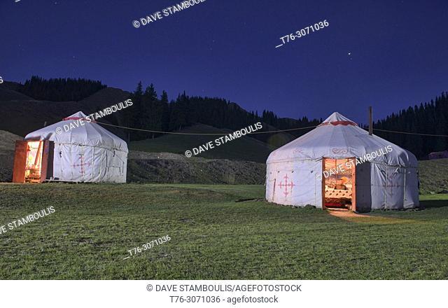 Kazakh yurts at blue hour, Sayram Lake, Xinjiang, China