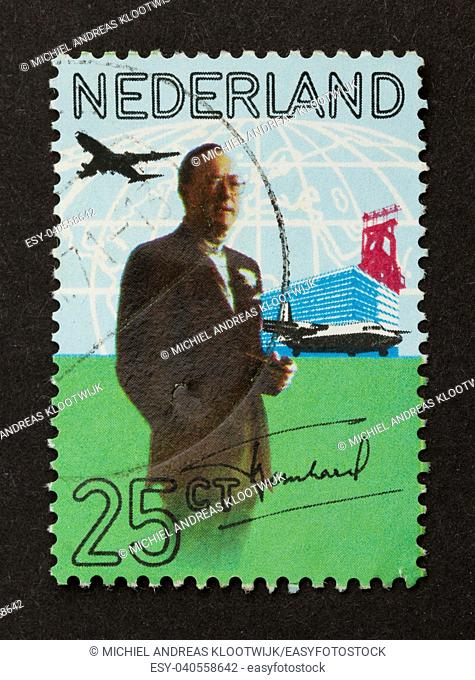 HOLLAND - CIRCA 1960: Stamp printed in the Netherlands shows a prince (Bernhard), circa 1960