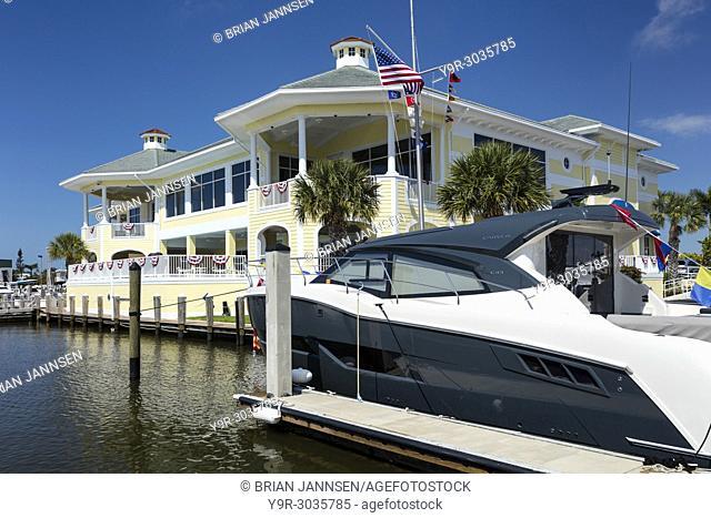 Yachts docked at the Naples Yacht and Sailing Club, Naples, Florida, USA