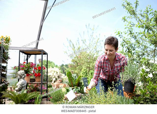 Portrait of female gardener working in garden centre