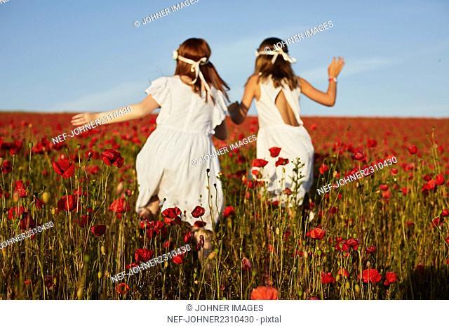 Girls running in poppy meadow