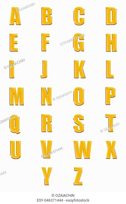 3d illustration golden fonts set or collection isolated