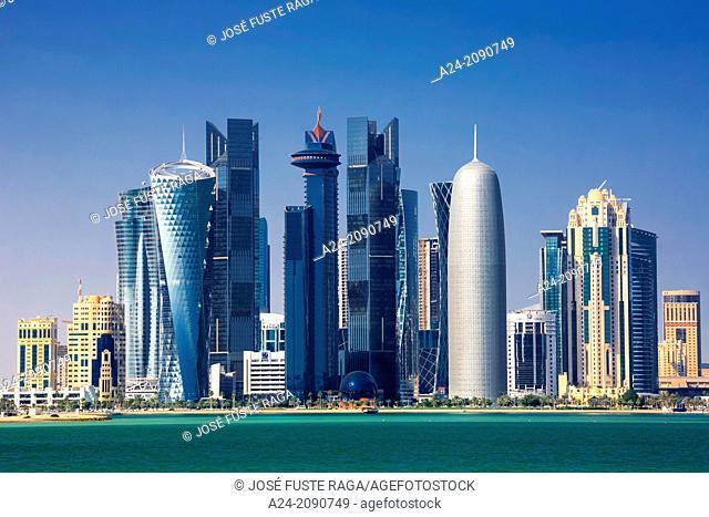 Qatar , Doha City, The Corniche , West bay skyline