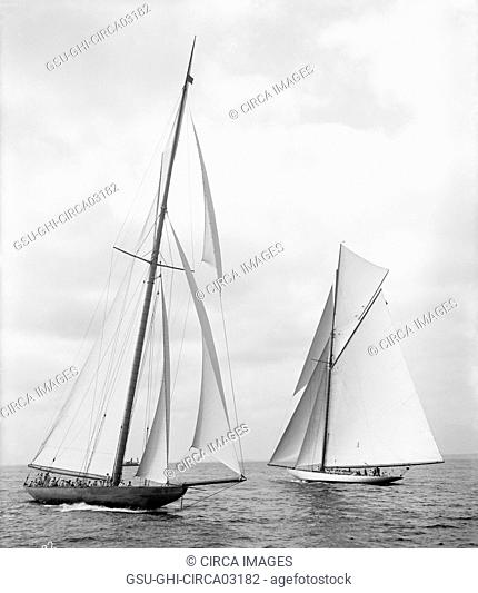 Shamrock II and Columbia, Maneuvering for Start of America's Cup Race, New York Harbor, USA, Detroit Publishing Company, October 1901
