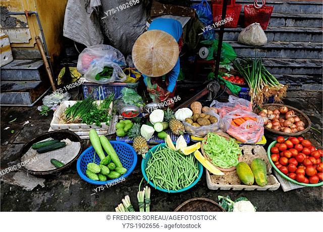 fruits vendor in Hoi An market, Vietnam,South East Asia,Asia