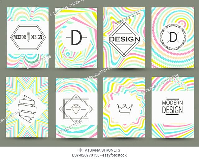 Set of modern flyer pages. Logos and Identity Elements, Labels and Badges, Frames and Backgrounds